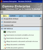 Menu Gamma Enterprise